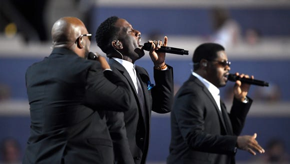 Boyz II Men perform during the first day of the Democratic