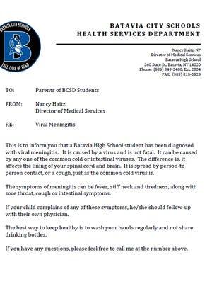 Batavia City School District has confirmed a case of viral meningitis. Oct. 20, 2017
