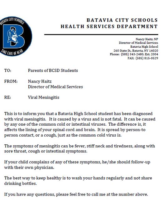 Batavia parent letter