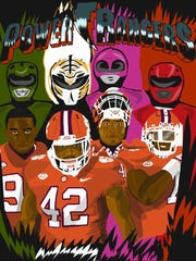 "Clemson defensive end Xavier Kelly's drawing of the team's ""Power Rangers,"" otherwise known as defensive linemen Clelin Ferrell, Christian Wilkins, Dexter Lawrence, and Austin Bryant."