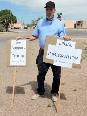 Saturday's Border Rally in protest of the separated immigrant families along the U.S.-Mexico border drew about 50 people who marched carrying signs and slogans near Columbus, NM. The march began at 11 a.m. at the plaza in Columbus and proceeded to the post of entry and on to the Mexico border of Puerto Palomas, Chih. Mexico. The march was a peaceful one and also included opposition to the protest from those in support of stricter immigration laws.