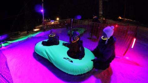 Cosmic Tubing at Mt. Hood Skibowl is open to anyone who is at least 36 inches tall.