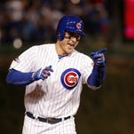 NLCS, Game 6: Anthony Rizzo's home run in the fifth inning gives the Cubs a 5-0 lead over the Dodgers.