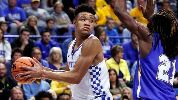 UK freshman Kevin Knox looks for an opening during a preseason exhibition on Oct. 30, 2017.