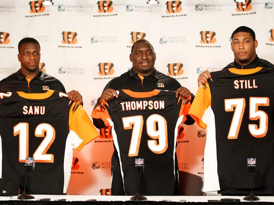 Cincinnati Bengals second and third round draft picks selected by the Bengals on Friday in the NFL Draft Ð WR Mohamed Sanu of Rutgers, left,  DT Brandon Thompson of Clemson and DT Devon Still of Penn State during a press conference at Paul Brown Stadium. The Enquirer/Jeff Swinger