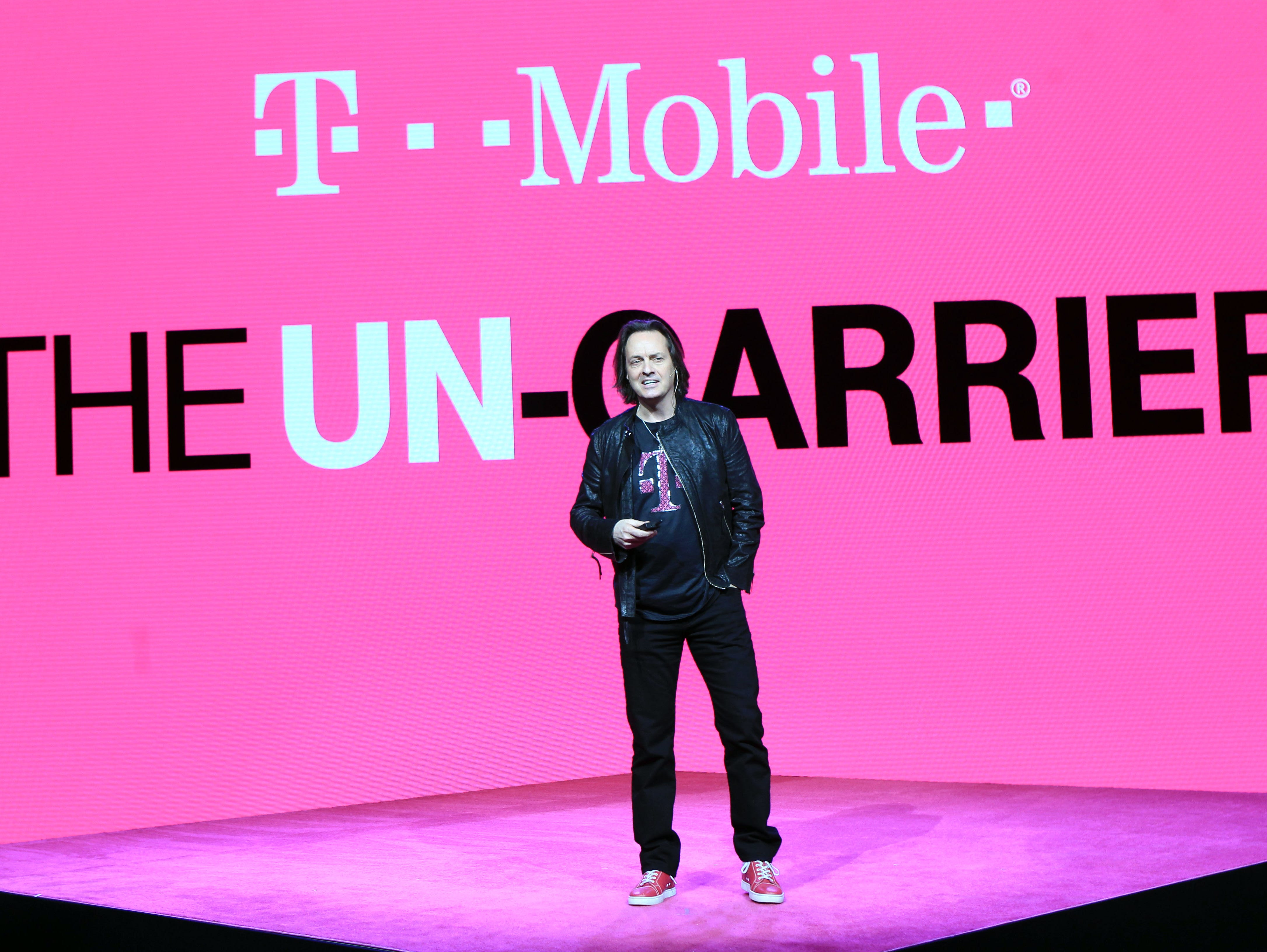 John Legere CEP of T-Mobile announces the company's new plans  on March 18, 2015 in New York City.