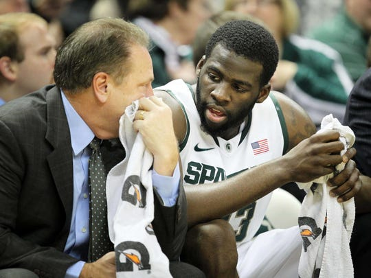 December 22, 2011; East Lansing, MI, USA; Michigan State Spartans forward Draymond Green (23) talks to Mhead coach Tom Izzo during the first half against the Lehigh Mountain Hawks at Breslin Center.