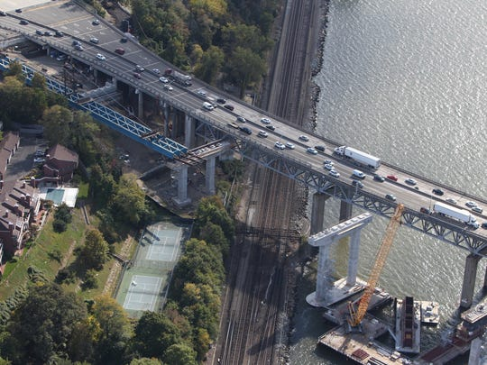 Aerial photo of the new Tappan Zee Bridge construction project Oct. 16, 2015.