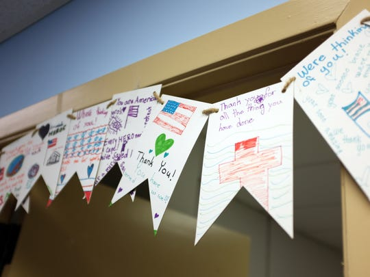 Supportive notes from children adorn doorways at the Veterans Transition Center in Marina.