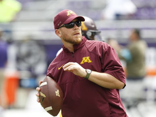 Rob Reeves, Minnesota's offensive coordinator for the Quick Lane Bowl, played at Saginaw Valley.