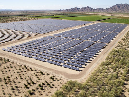 The 146-acre Cotton Center Solar Plant, owned by APS, is one of several solar-power facilities near Gila Bend.