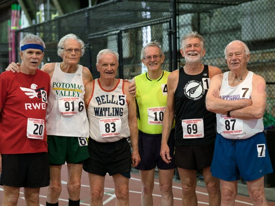 Participants in the 2016 Hartshorne Mile, representing the oldest group to race at Barton Hall on Saturday. Pictured are Joe Reynolds, Harland Bigelow, Tom Rishel, Ted Sullivan, Richard Sullivan and Dixon Hemphill.