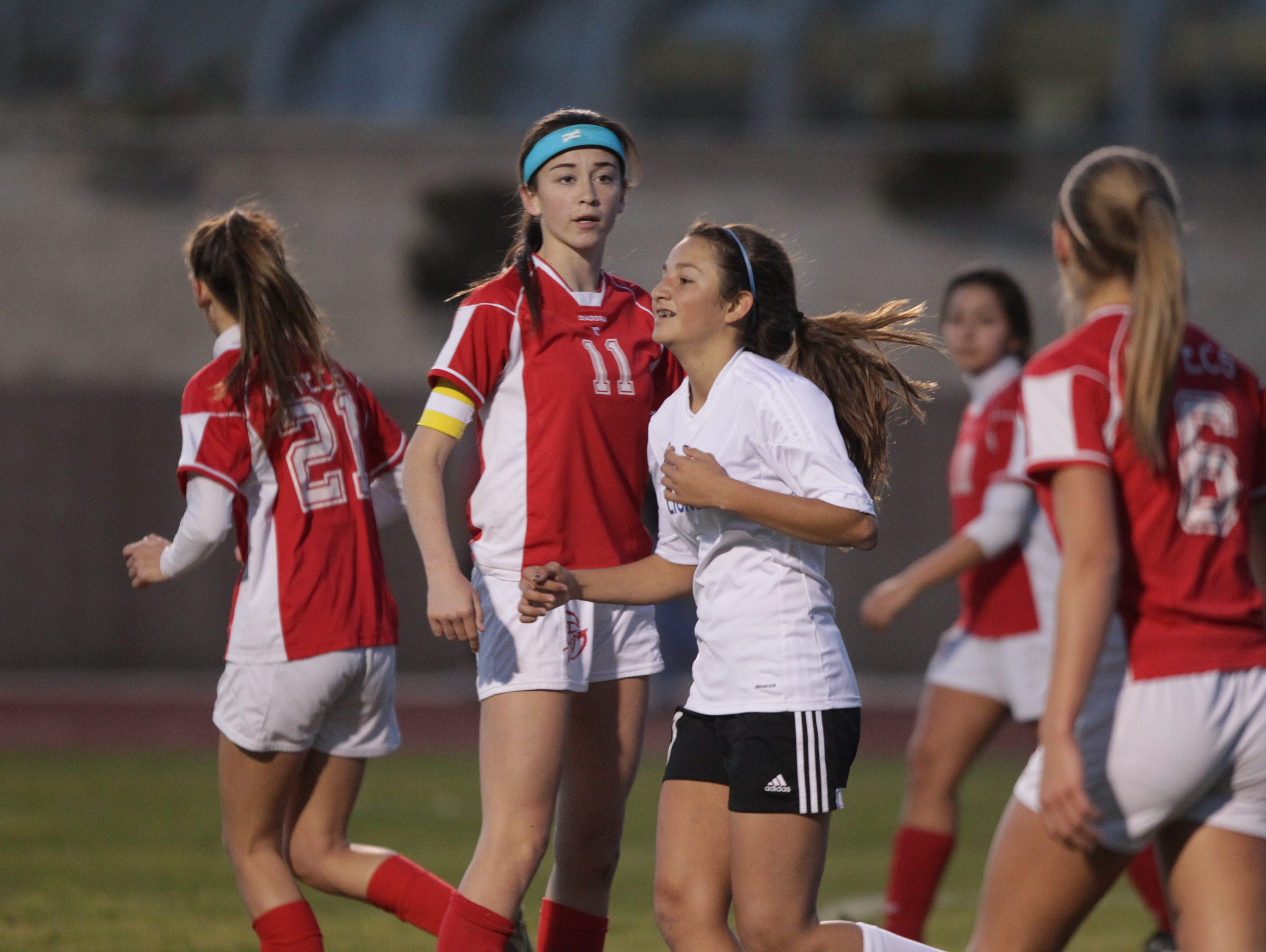 Aylin Figueroa Uribe is all smiles after scoring the third goal for Cathedral City High School during their game against Palm Desert High School on February 2, 2016.