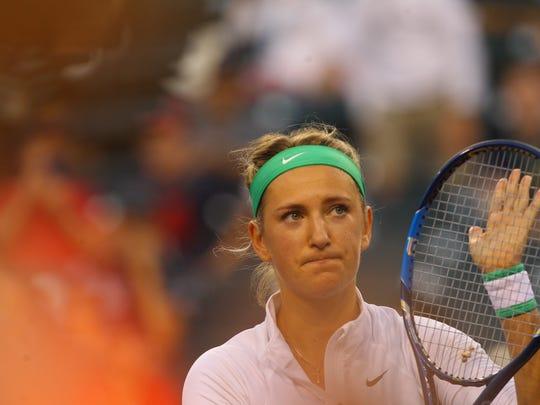 Victoria Azarenka advances to the semifinals of the 2016 BNP Paribas Open after defeating Magdalena Rybarikova 6-0, 6-0 on March 17, 2016.