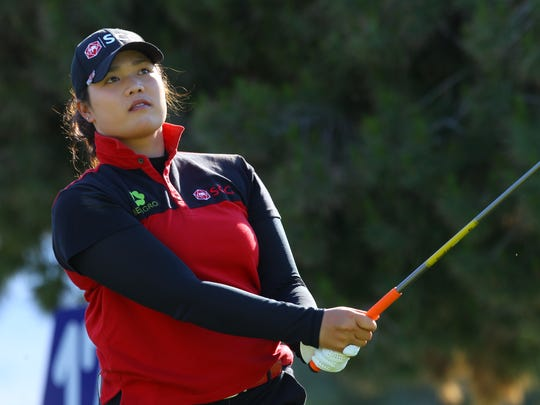 Ariya Jutanugarn of Thailand on the 17th during the 3rd round of the ANA Inspiration tournament held Mission Hills Country Club in Rancho Mirage on April 2, 2016.