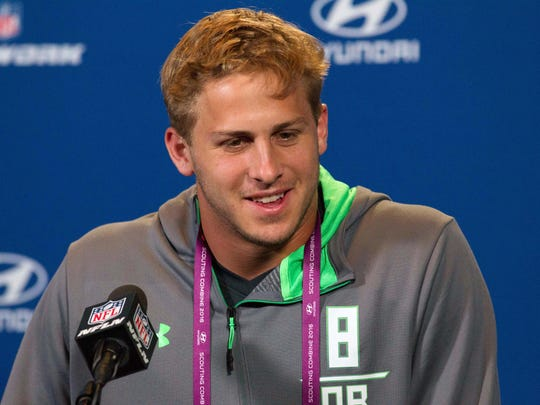 Feb 25, 2016; Indianapolis, IN, USA; California quarterback Jared Goff speaks to the media during the 2016 NFL Scouting Combine at Lucas Oil Stadium. Mandatory Credit: Trevor Ruszkowski-USA TODAY Sports