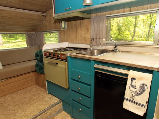 VINTAGE TRAILERS MAY 6; 2016; Kitchen area of a 1969 Lo Liner Aristocrat camping trailer.