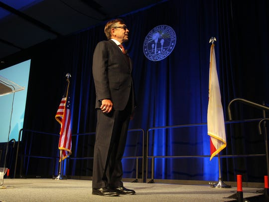 Palm Springs mayor Robert Moon give the state of the