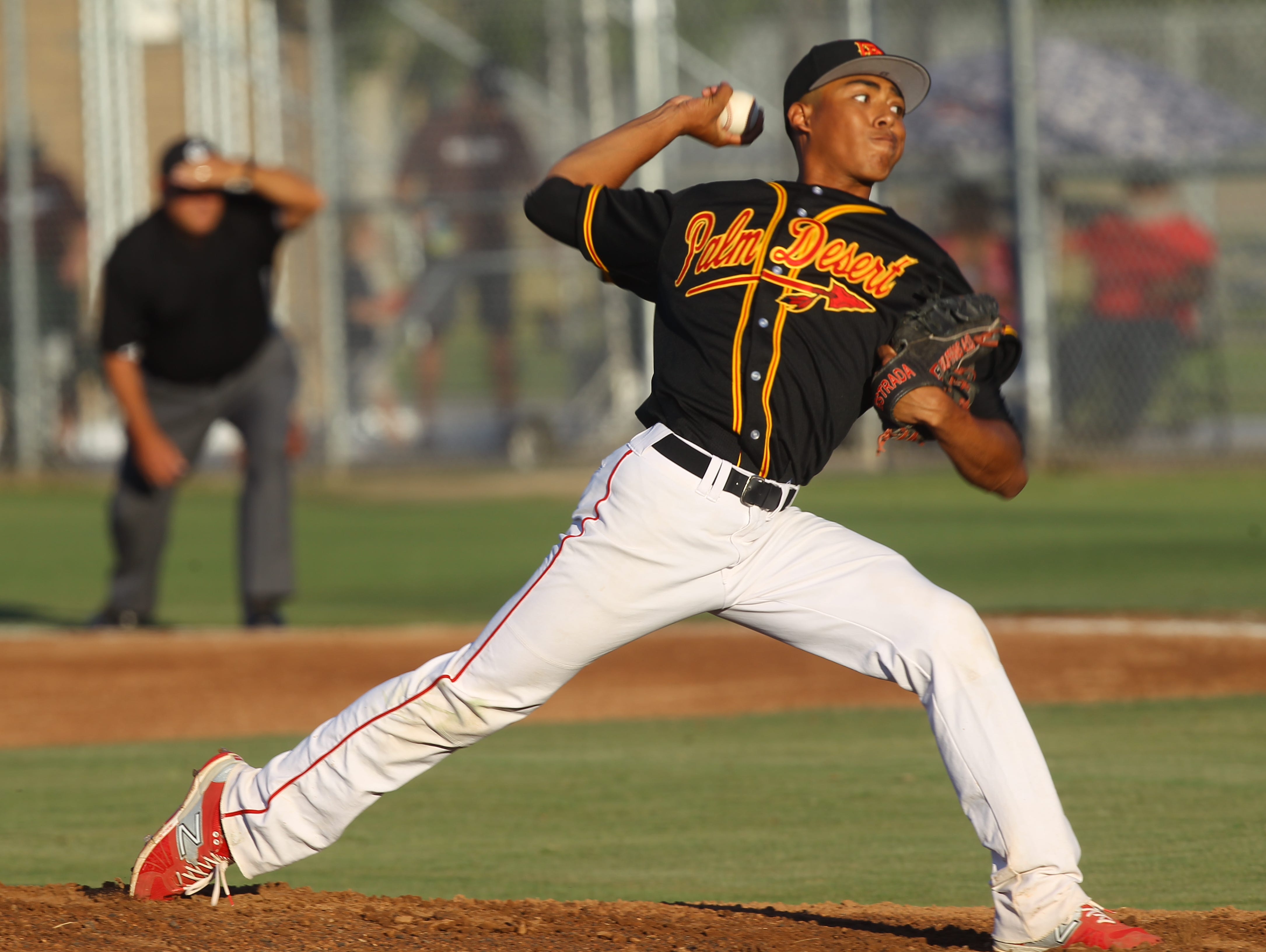 Palm Desert High School pitcher Jeremiah Estrada had a shutout against La Quinta High School at home on May 12, 2016.