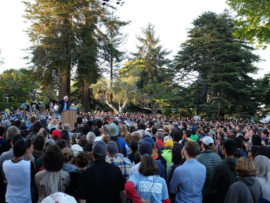 Sanders speaks to a packed Colton Lawn during his Monterey campaign stop.