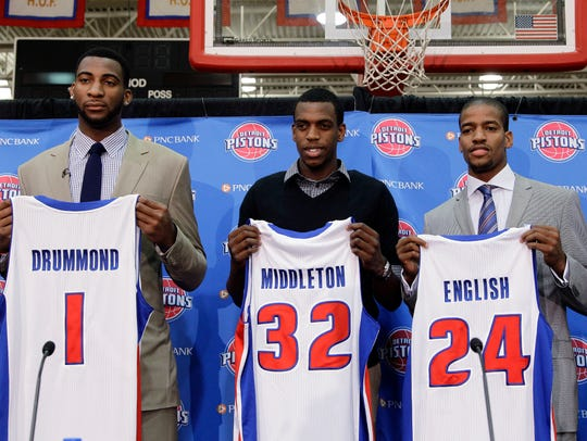 Detroit Pistons draft choices Andre Drummond (1), Khris