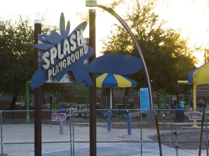 A popular splash playground at Tempe Beach Park, seen
