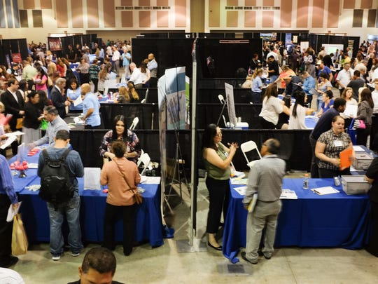 Thousands attend the 21st annual ValleyWide Employment Expo at the Riverside County Fairgrounds on Thursday, September 15, 2016.