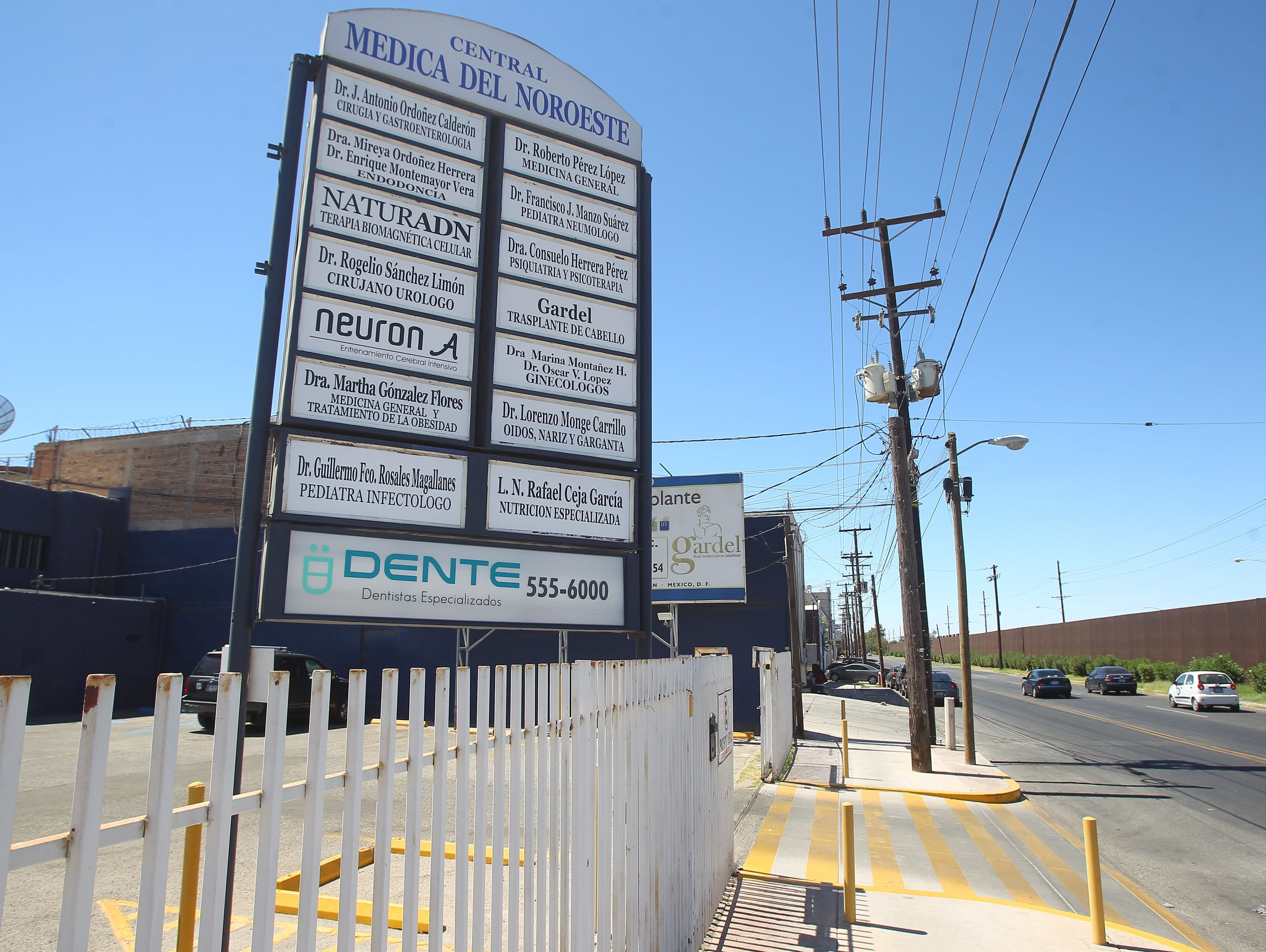 Many medical and dental clinics in Mexicali, Mexico