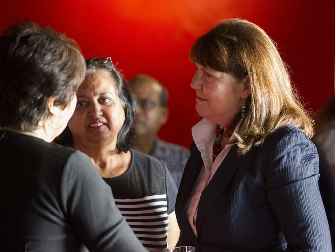 U.S. Rep. Ann Kirkpatrick speaks with supporters at