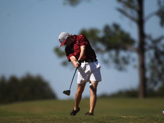 Chiles' Bryce Johnson hits a drive during Tuesday's