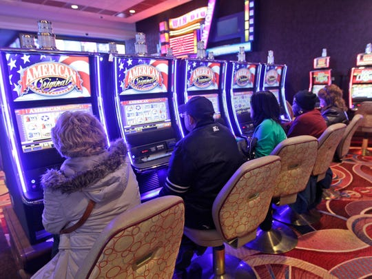 Slot machines at a New York State are pictured.
