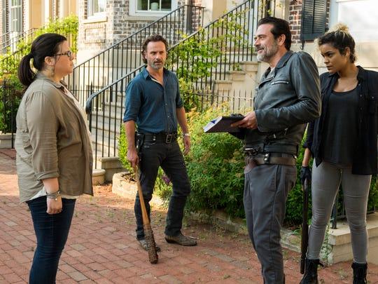 """Ann Mahoney (far left) as Oliviain a scene from """"The Walking Dead"""""""