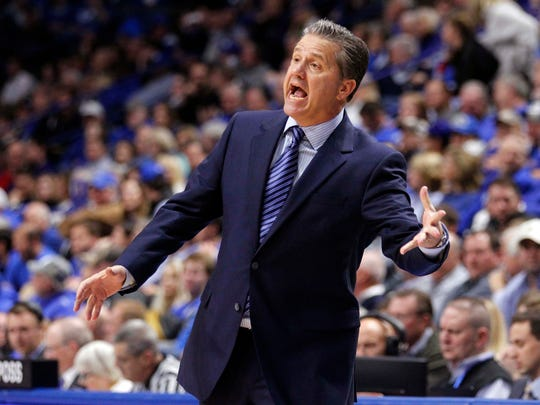 Dec 7, 2016; Lexington, KY, USA; Kentucky Wildcats head coach John Calipari reacts during the game against the Valparaiso Crusaders in the second half at Rupp Arena. Kentucky defeated Valparaiso 87-63.