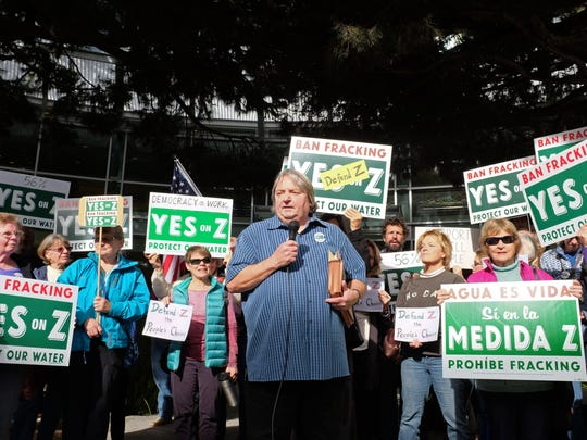 Retired labor and civil rights attorney Jim Eggleston talks about staying the course at a Yes on Z rally outside the Monterey County administrative offices in Salinas on Tuesday.