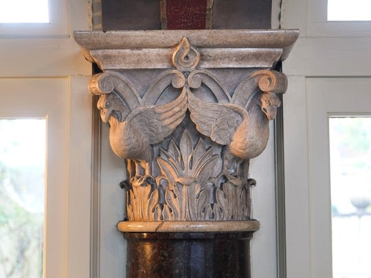 An elaborate capital adorns a column in the loggia of Craiglen. It's believed Italian-born sculptor Albert Milani carved the capital from designs at the Palazzo Davanzati in Florence. His public work includes four marble eagles above entrances of the U.S. Post Office on Main Street.