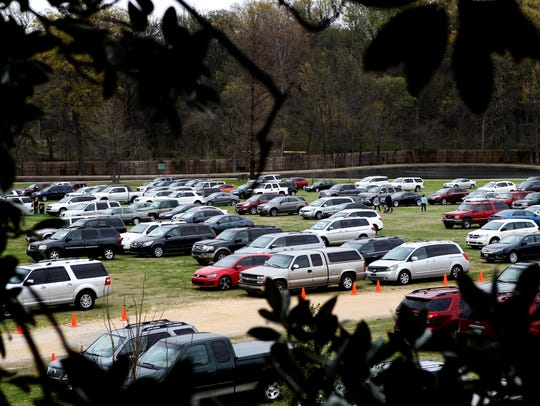 On a busy day, overflow parking for Memphis Zoo visitors