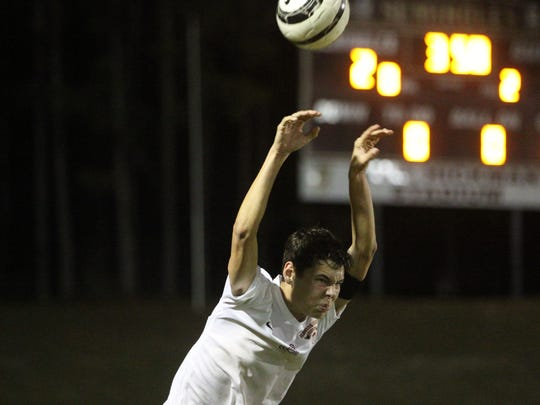 Florida High senior Brandon Kelley takes a throw-in during the final minutes of the Seminoles' 2-1 win over Maclay on Tuesday.