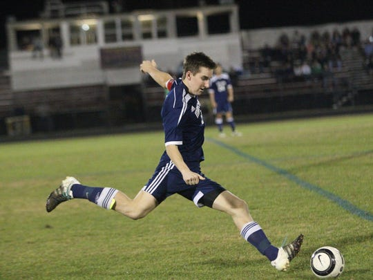 Maclay's Daniel Sweeney takes a free kick. Florida High picked up a 2-1 win over Maclay on Tuesday night.