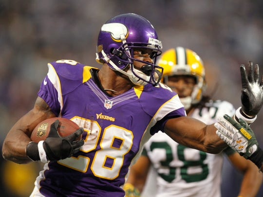 Running back Adrian Peterson may have played his final game with the Vikings. (AP Photo/Genevieve Ross)