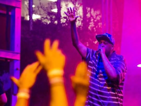 Blackalicious performs on the Cityscape stage during the Viva PHX music festival in downtown Phoenix on March 11, 2017. The alt-rap duo followed Mystikal.