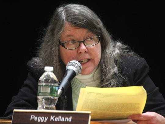 President Peggy Kelland during a Wappingers Central School District board meeting at Wappingers Junior High School March 13, 2017.