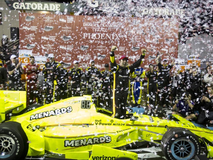 Simon Pagenaud celebrates after winning the Desert