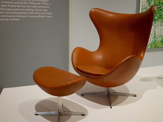 """Arne Jacobsen's """"Egg"""" chair and ottoman is """"one of the great greats of the collection,"""" curator Colin Fanning said."""