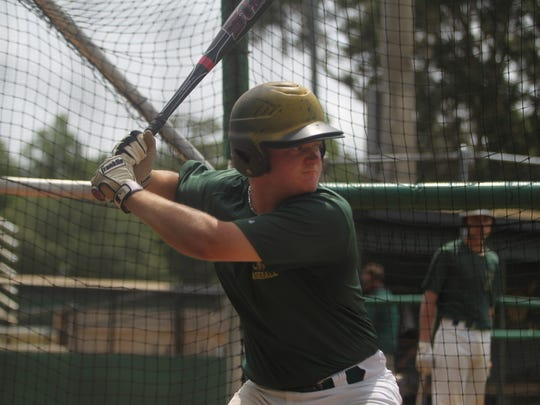 Lincoln's Dallen Leach takes BP in advance of this week's state tournament.
