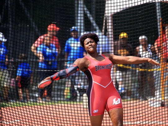 Essence Henderson of Lafayette Jefferson took first in the discus with a throw of 158-01.00 and first in the shot put with a toss of 46-11.75.