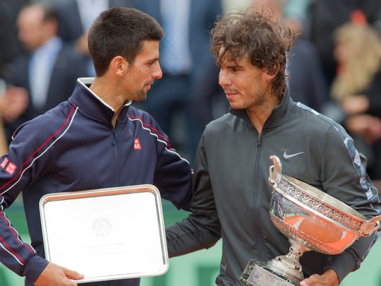 Novak Djokovic (SRB), left, and Rafael Nadal (ESP)