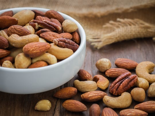 Foods such as nuts can help replenish salt lost during