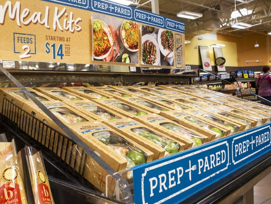 Prep+Pared meal kits are displayed Monday, May 7, 2017 at the Kroger Marketplace in Oakley, OH. The meal kits start at $14 and feed two people.