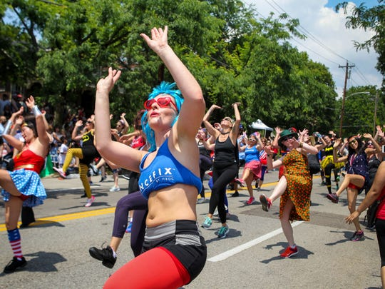 The group Dance Fix shows off their moves in the annual Northside 4th of July Parade Tuesday, July 4, 2017 in Northside.