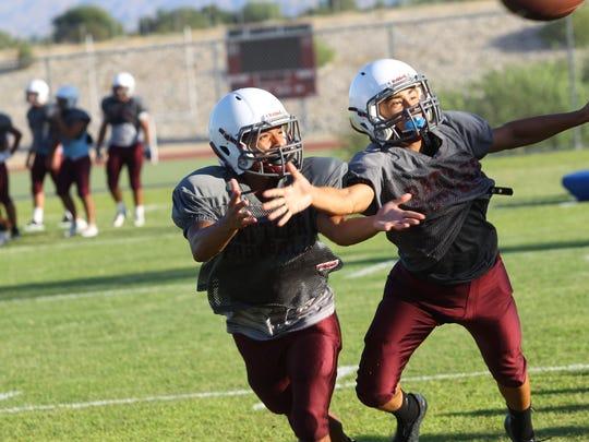 Rancho Mirage High School football players practice
